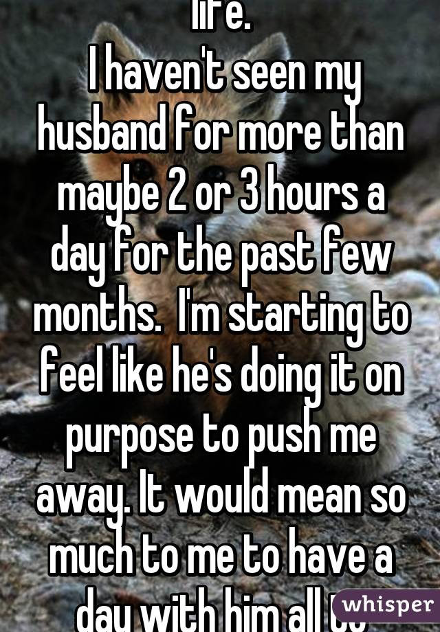 I'm so frustrated with life.  I haven't seen my husband for more than maybe 2 or 3 hours a day for the past few months.  I'm starting to feel like he's doing it on purpose to push me away. It would mean so much to me to have a day with him all to myself.