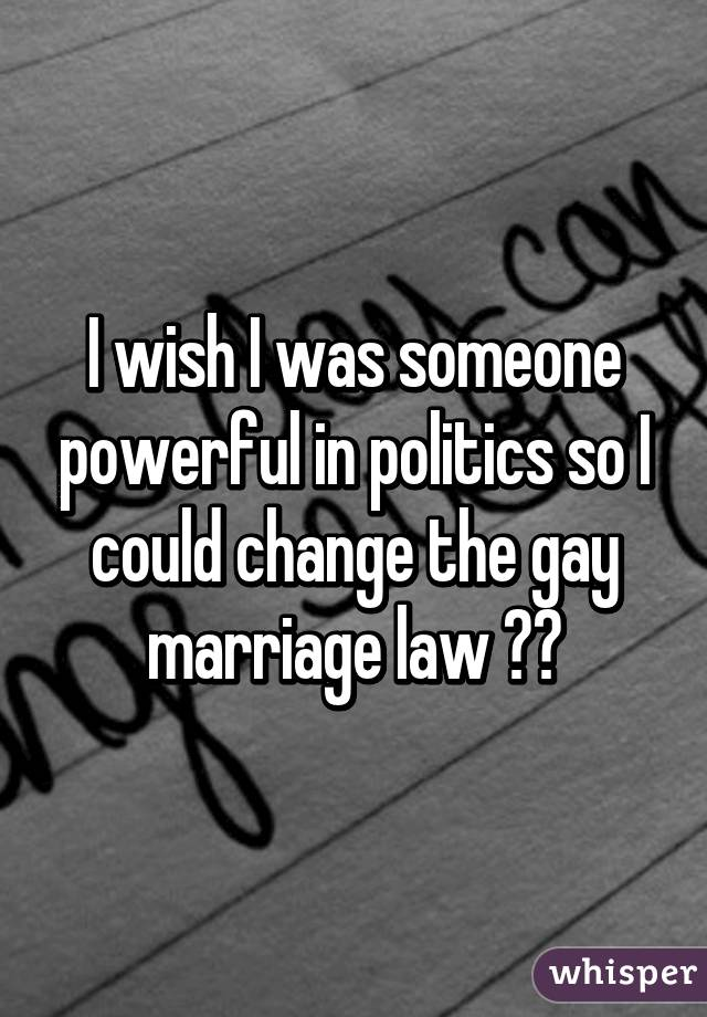 I wish I was someone powerful in politics so I could change the gay marriage law 😒😡