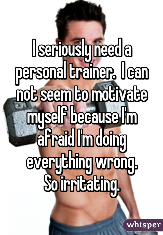 I seriously need a personal trainer.  I can not seem to motivate myself because I'm afraid I'm doing everything wrong. So irritating.