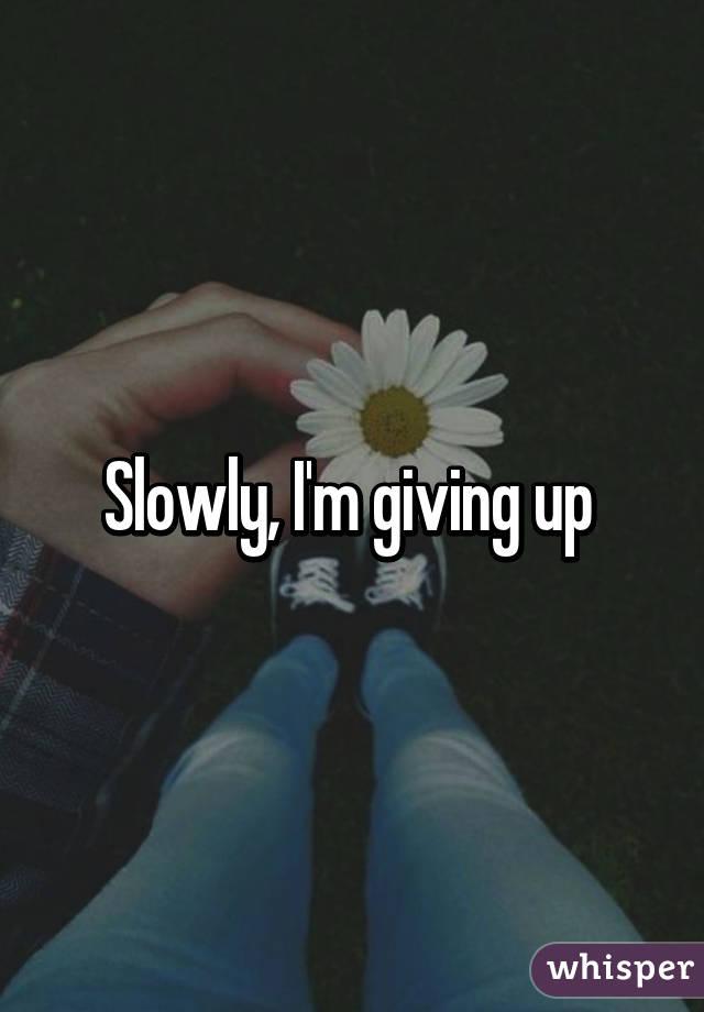 Slowly, I'm giving up