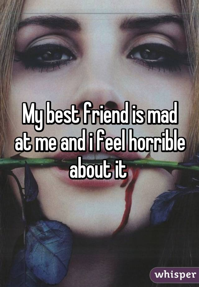 My best friend is mad at me and i feel horrible about it