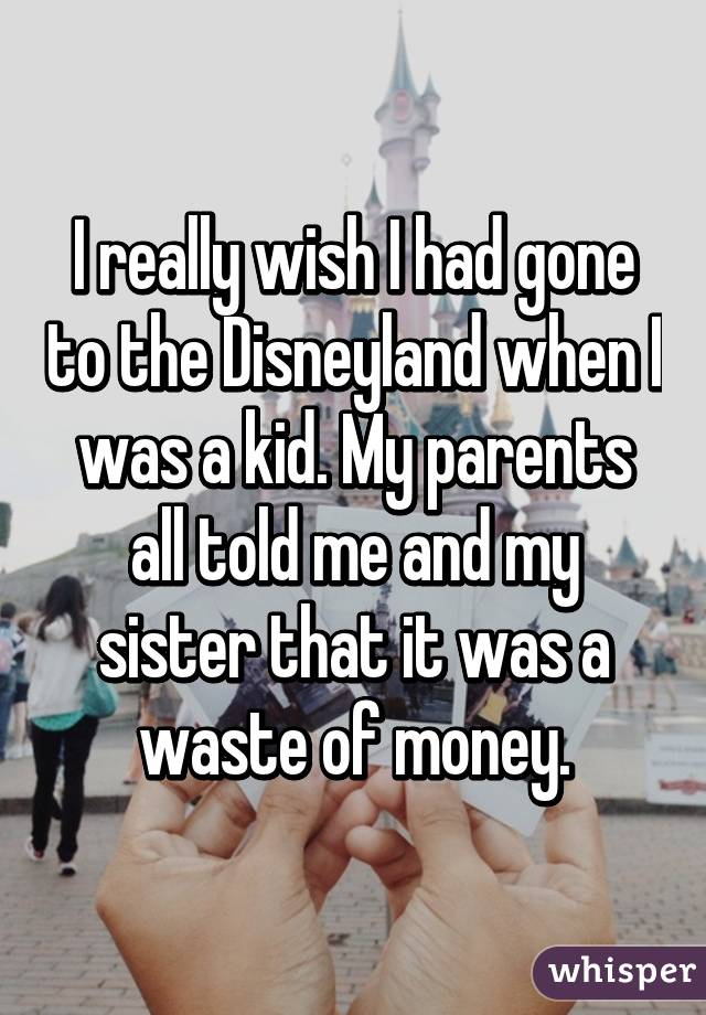 I really wish I had gone to the Disneyland when I was a kid. My parents all told me and my sister that it was a waste of money.