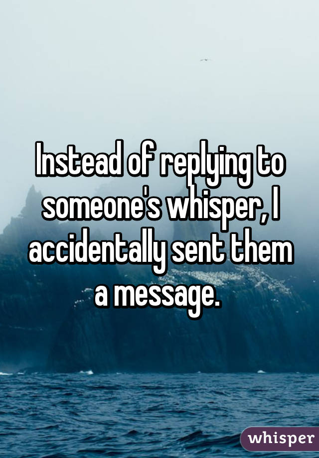 Instead of replying to someone's whisper, I accidentally sent them a message.