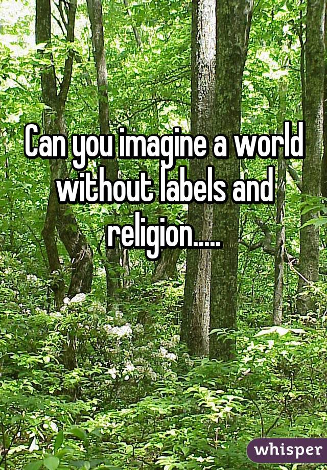Can you imagine a world without labels and religion.....