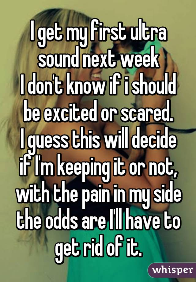 I get my first ultra sound next week I don't know if i should be excited or scared. I guess this will decide if I'm keeping it or not, with the pain in my side the odds are I'll have to get rid of it.