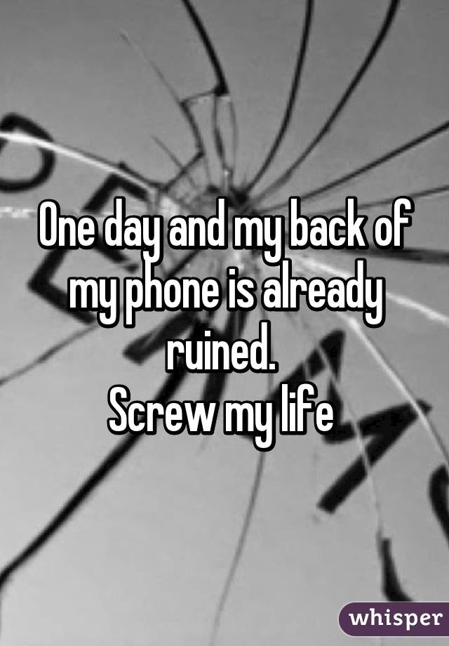 One day and my back of my phone is already ruined.  Screw my life