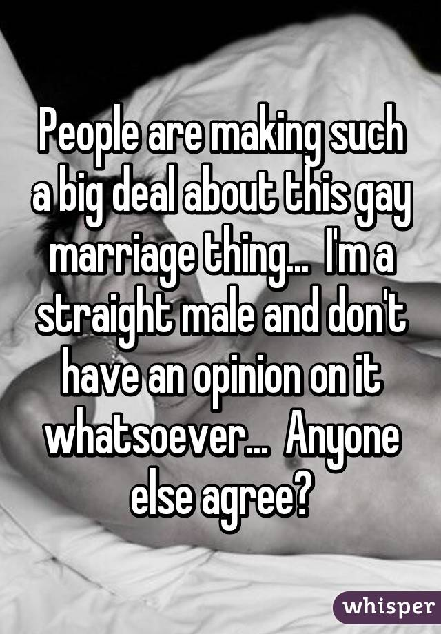 People are making such a big deal about this gay marriage thing...  I'm a straight male and don't have an opinion on it whatsoever...  Anyone else agree?
