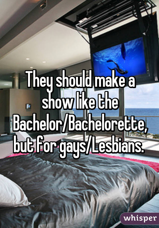 They should make a show like the Bachelor/Bachelorette, but for gays/Lesbians.