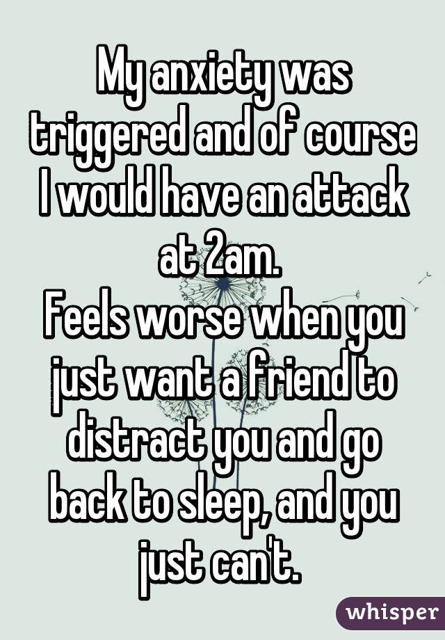 My anxiety was triggered and of course I would have an attack at 2am.  Feels worse when you just want a friend to distract you and go back to sleep, and you just can't.