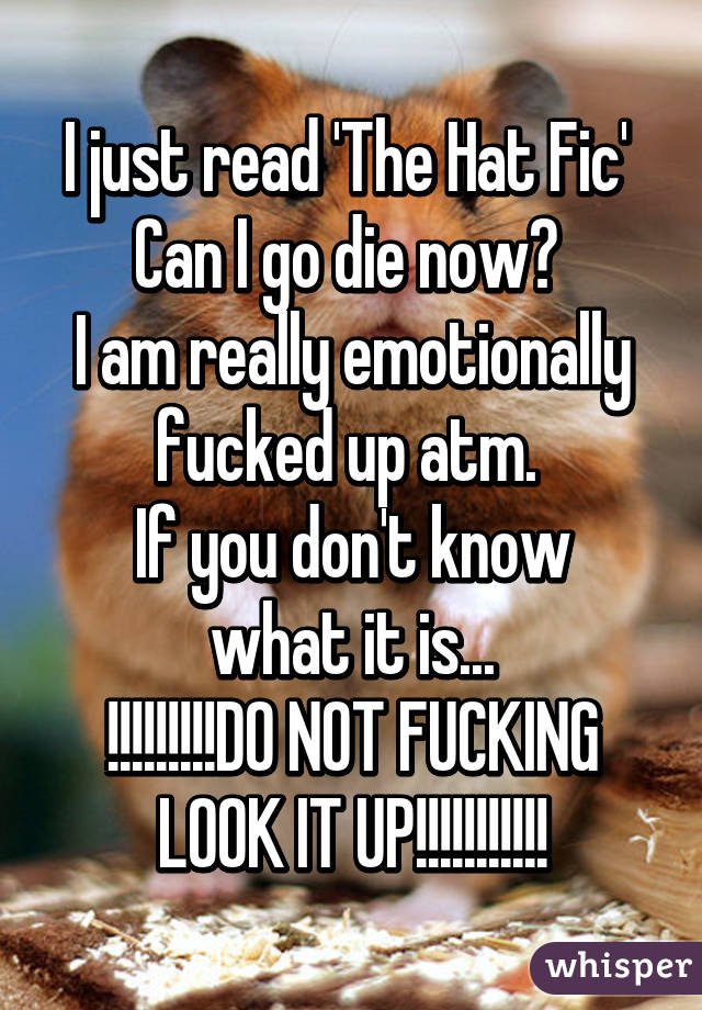 I just read 'The Hat Fic'  Can I go die now?  I am really emotionally fucked up atm.  If you don't know what it is... !!!!!!!!!DO NOT FUCKING LOOK IT UP!!!!!!!!!!!