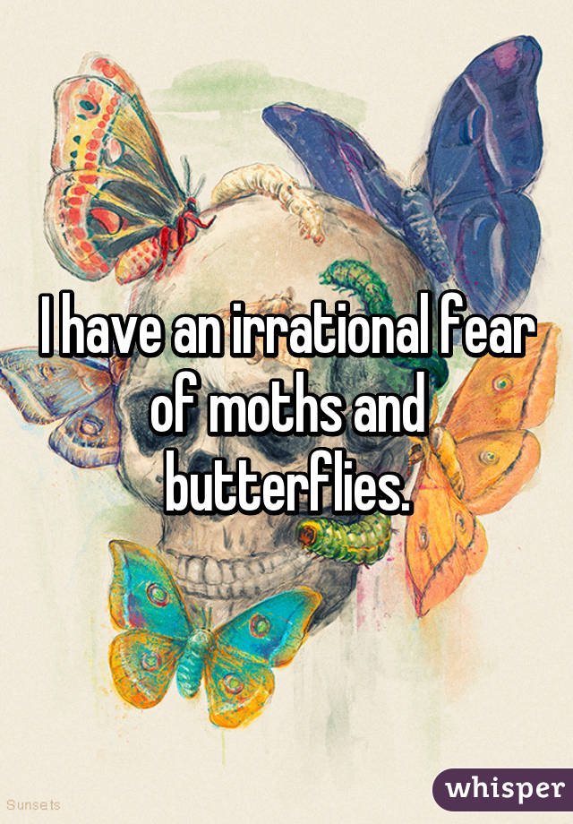 I have an irrational fear of moths and butterflies.