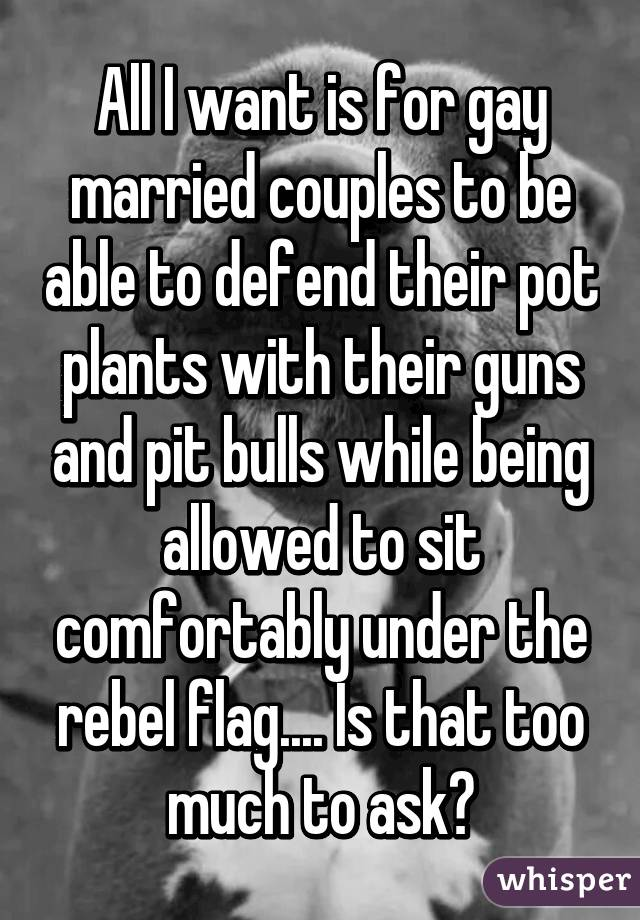 All I want is for gay married couples to be able to defend their pot plants with their guns and pit bulls while being allowed to sit comfortably under the rebel flag.... Is that too much to ask?