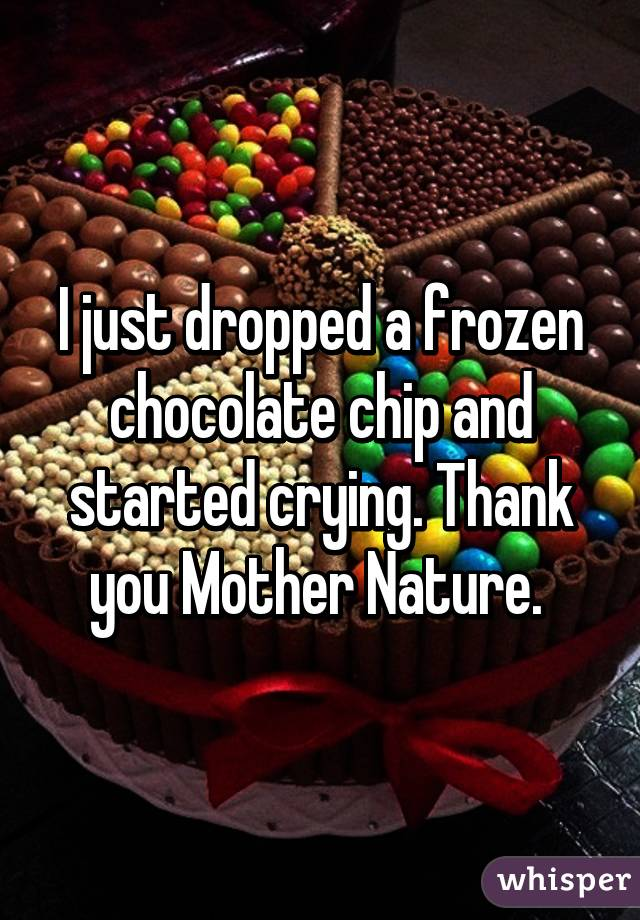 I just dropped a frozen chocolate chip and started crying. Thank you Mother Nature.