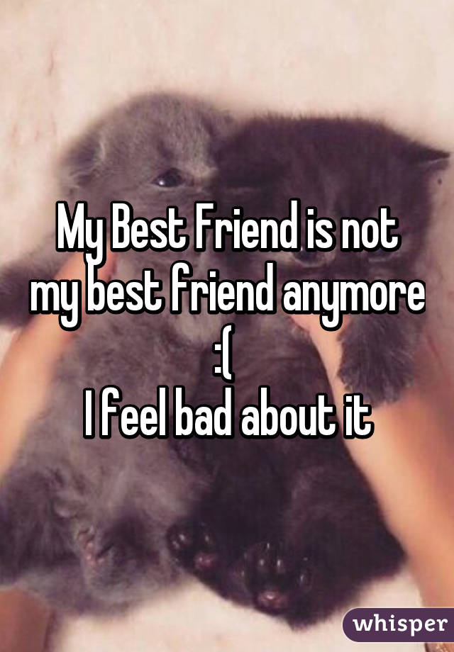 My Best Friend is not my best friend anymore :(  I feel bad about it
