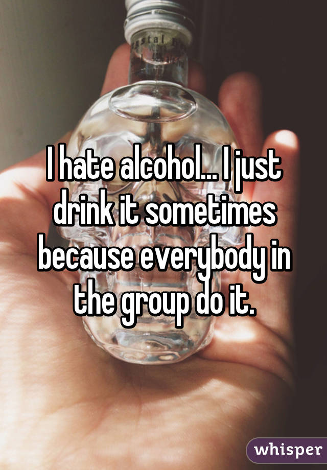 I hate alcohol... I just drink it sometimes because everybody in the group do it.