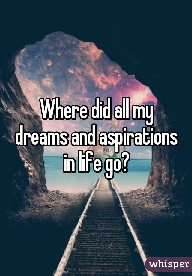 my dream turns to a life aspiration Now it's your turn in your workbook complete the section 'my life hopes, dreams  and aspirations' and start by imagining if there were no barriers, what would.