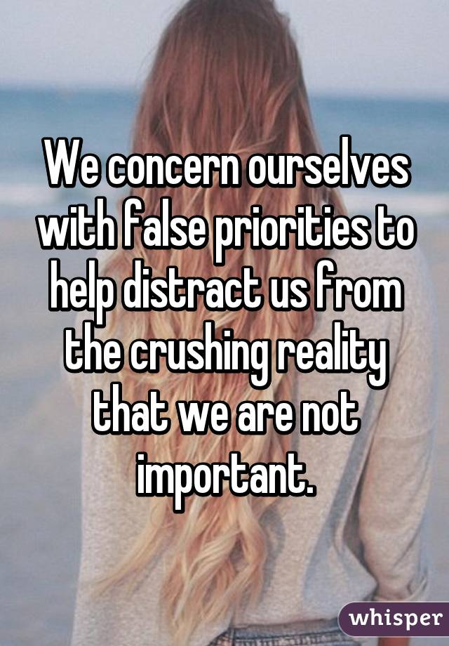 We concern ourselves with false priorities to help distract us from the crushing reality that we are not important.