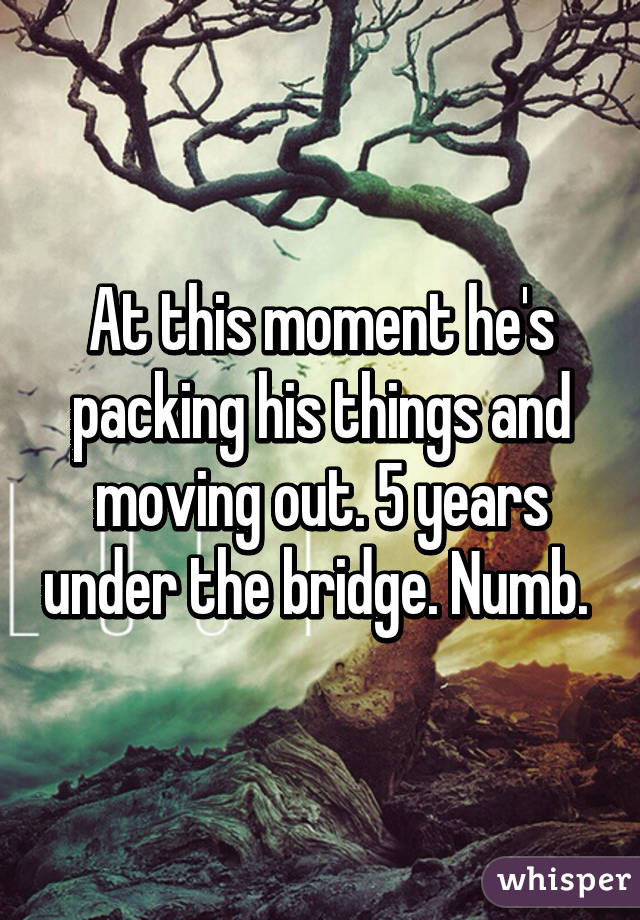 At this moment he's packing his things and moving out. 5 years under the bridge. Numb.