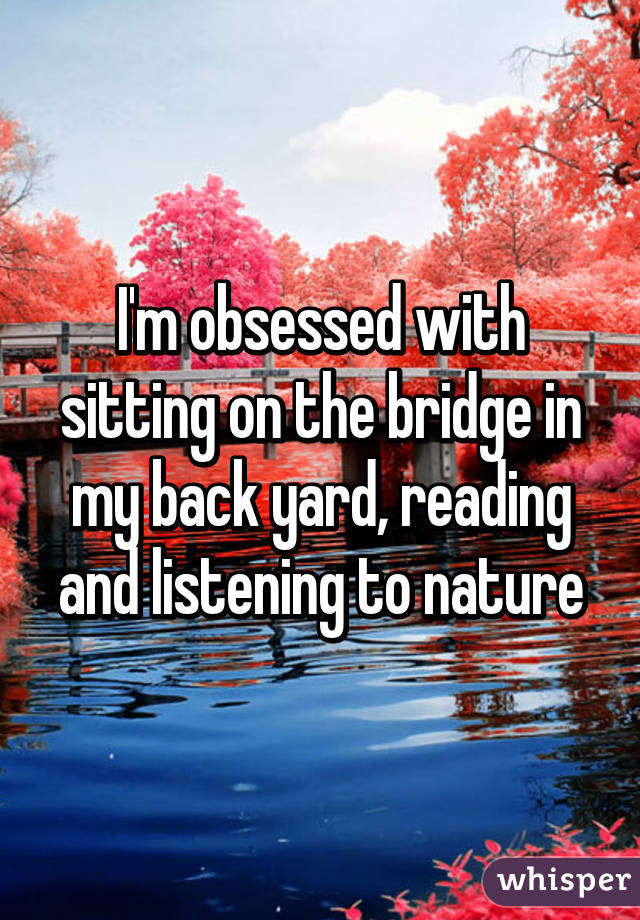 I'm obsessed with sitting on the bridge in my back yard, reading and listening to nature