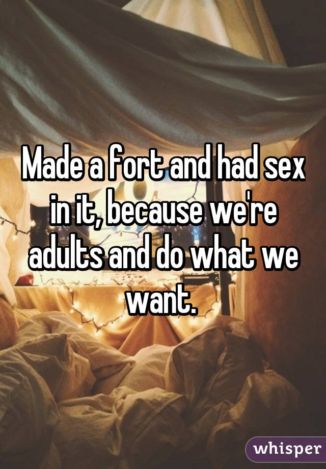Made a fort and had sex in it, because we're adults and do what we want.