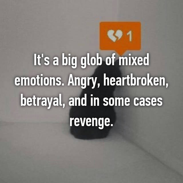 It's a big glob of mixed emotions. Angry, heartbroken, betrayal, and in some cases revenge.