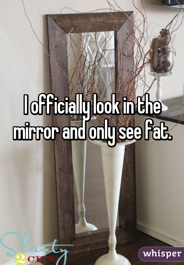I officially look in the mirror and only see fat.