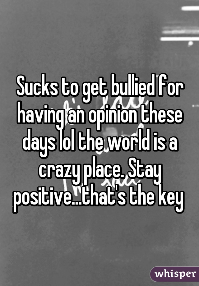 Sucks to get bullied for having an opinion these days lol the world is a crazy place. Stay positive...that's the key