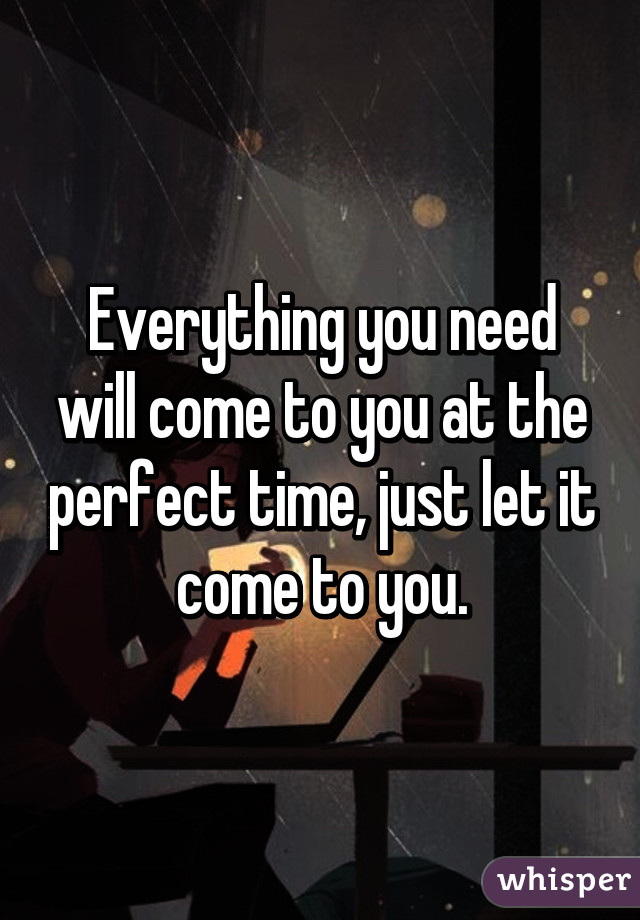 Everything you need will come to you at the perfect time, just let it come to you.