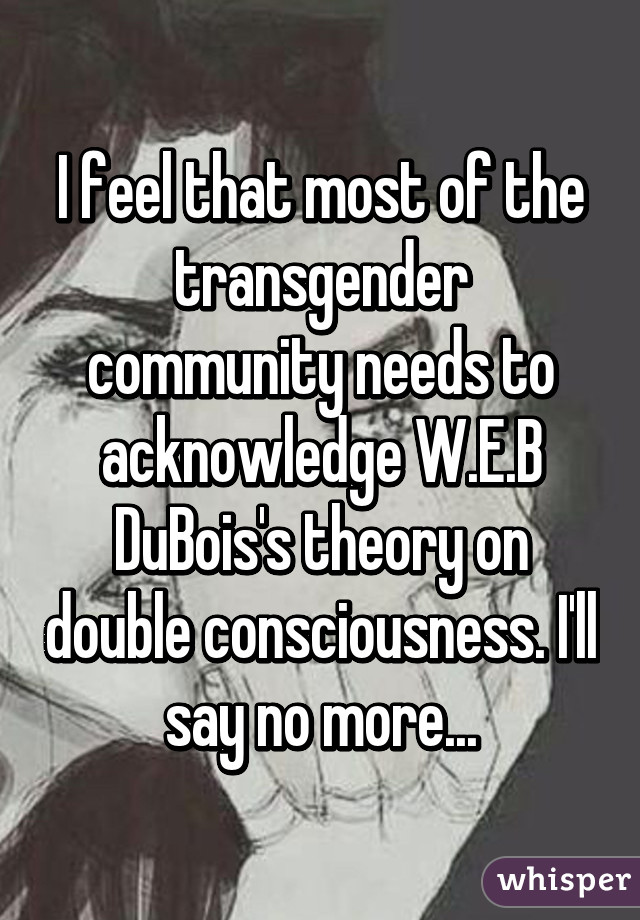 I feel that most of the transgender community needs to acknowledge W.E.B DuBois's theory on double consciousness. I'll say no more...