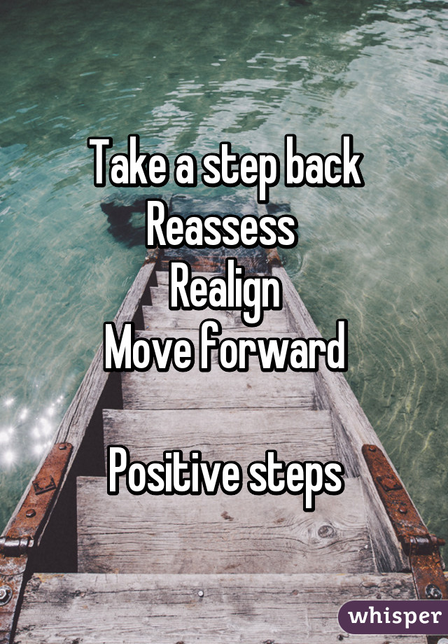 Taking Steps Back to Move Forward Take a Step Back Reassess