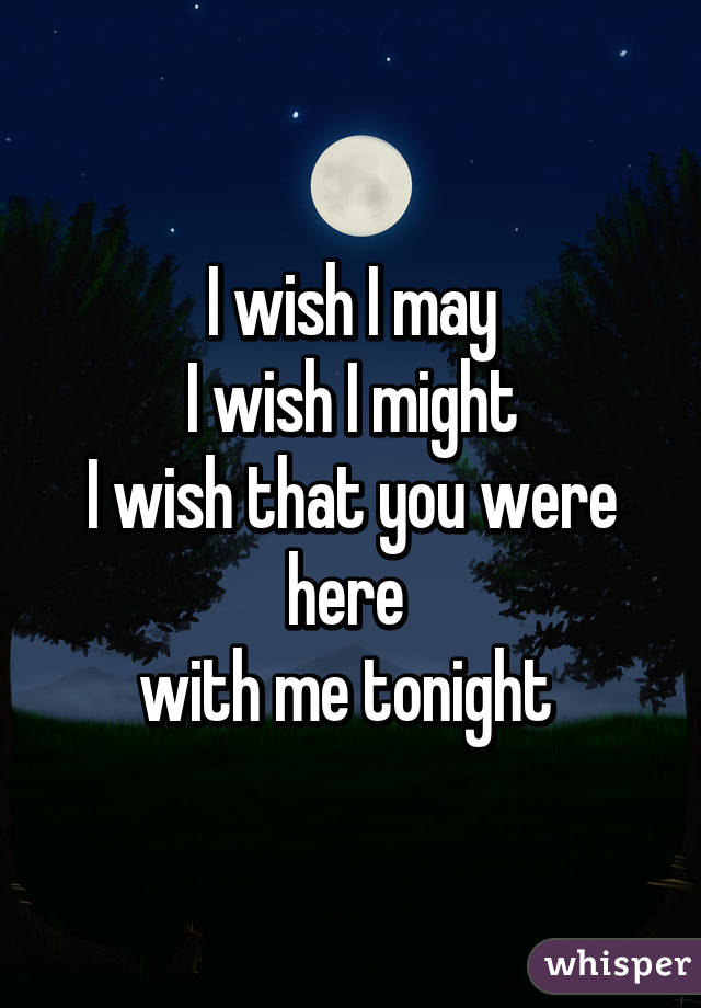 wish I may I wish I might I wish that you were here with me tonight