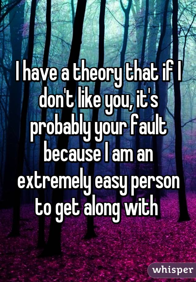 I have a theory that if I don't like you, it's probably your fault because I am an extremely easy person to get along with
