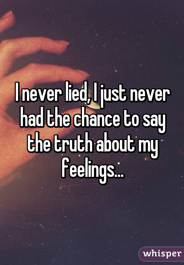 I never lied, I just never had the chance to say the truth about my feelings...