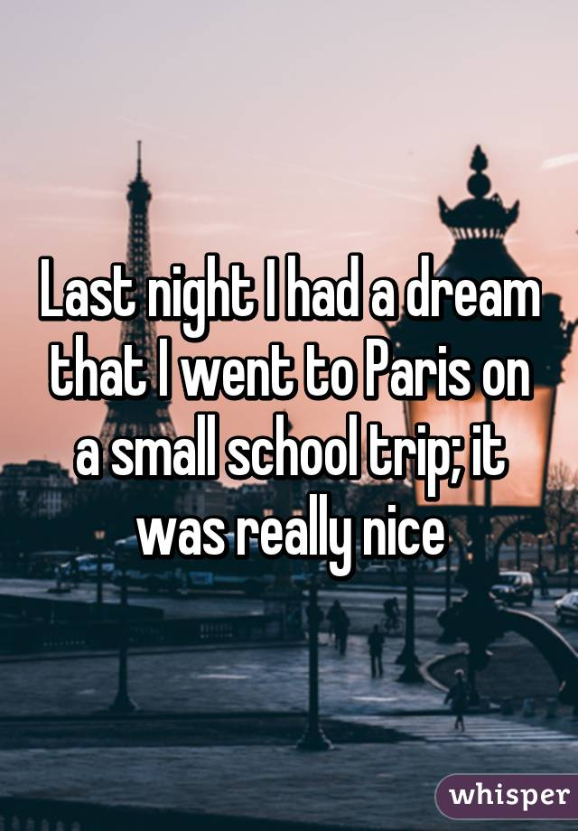 Last night I had a dream that I went to Paris on a small school trip; it was really nice