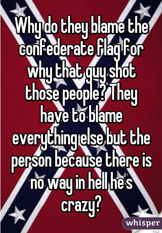 Why do they blame the confederate flag for why that guy shot those people? They have to blame everything else but the person because there is no way in hell he's crazy?