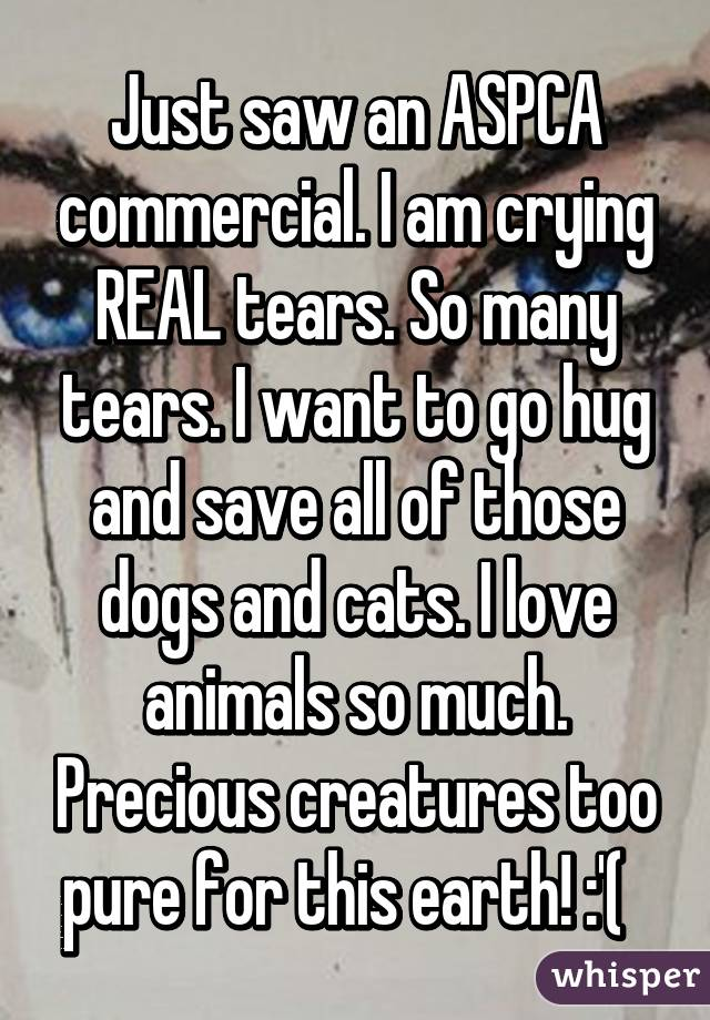 Just saw an ASPCA commercial. I am crying REAL tears. So many tears. I want to go hug and save all of those dogs and cats. I love animals so much. Precious creatures too pure for this earth! :'(