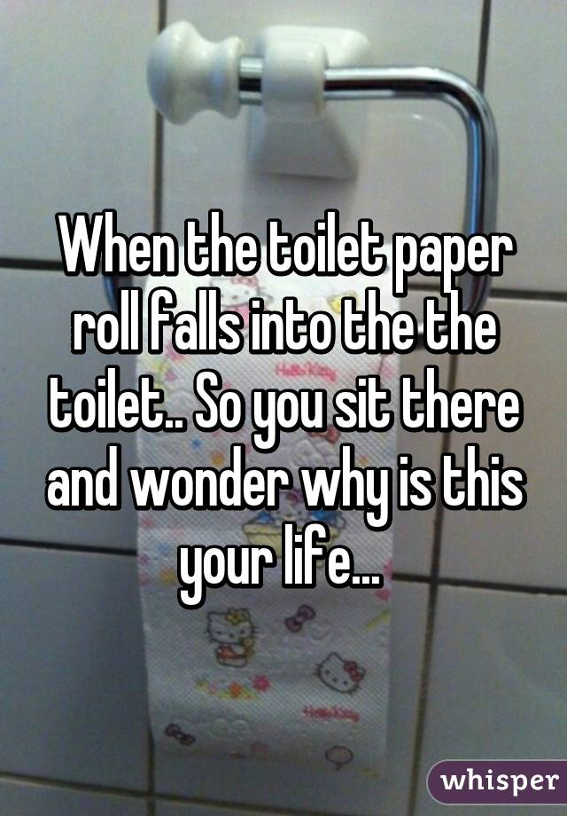 When the toilet paper roll falls into the the toilet.. So you sit there and wonder why is this your life...