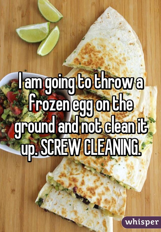 I am going to throw a frozen egg on the ground and not clean it up. SCREW CLEANING.