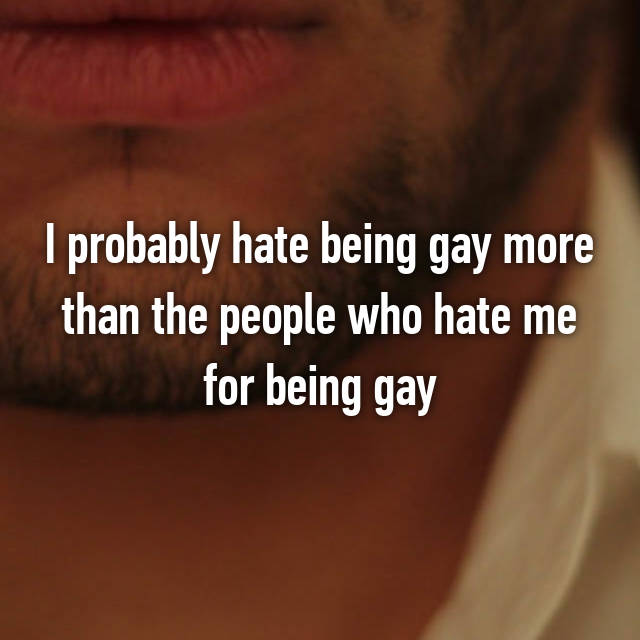 I probably hate being gay more than the people who hate me for being gay