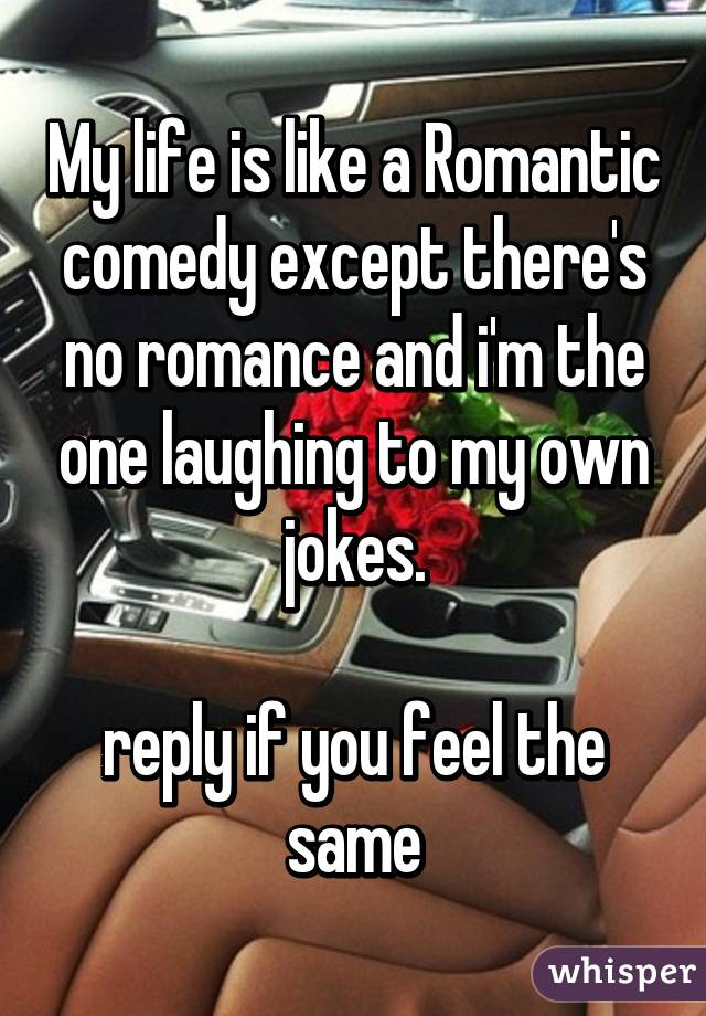 My life is like a Romantic comedy except there's no romance and i'm the one laughing to my own jokes.  reply if you feel the same