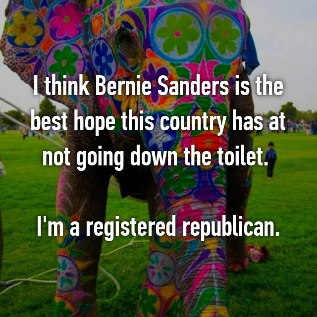 I think Bernie Sanders is the best hope this country has at not going down the toilet.   I'm a registered republican.