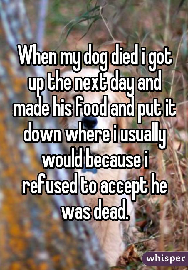 When my dog died i got up the next day and made his food and put it down where i usually would because i refused to accept he was dead.