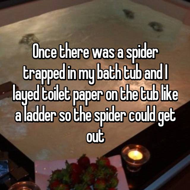 Once there was a spider trapped in my bath tub and I layed toilet paper on the tub like a ladder so the spider could get out