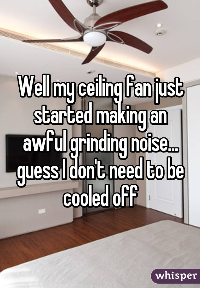 Well My Ceiling Fan Just Started Making