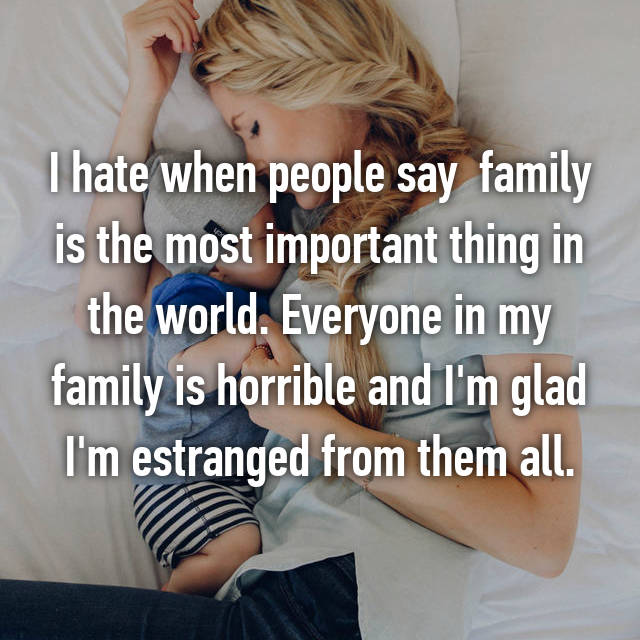 I hate when people say  family is the most important thing in the world. Everyone in my family is horrible and I'm glad I'm estranged from them all.