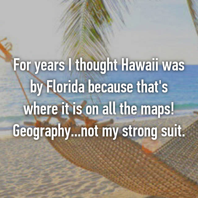 For years I thought Hawaii was by Florida because that's where it is on all the maps! Geography...not my strong suit.
