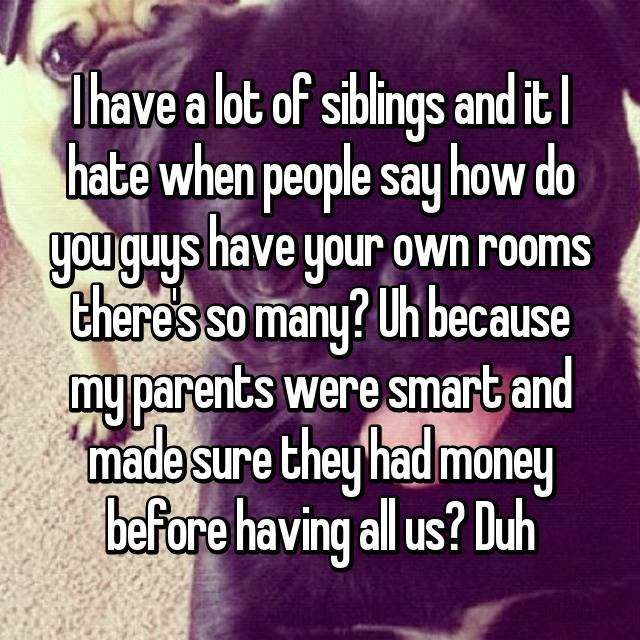 I have a lot of siblings and it I hate when people say how do you guys have your own rooms there's so many? Uh because my parents were smart and made sure they had money before having all us? Duh