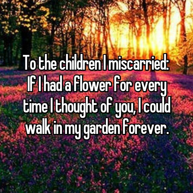 To the children I miscarried:  If I had a flower for every time I thought of you, I could walk in my garden forever.