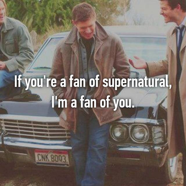 If you're a fan of supernatural, I'm a fan of you.