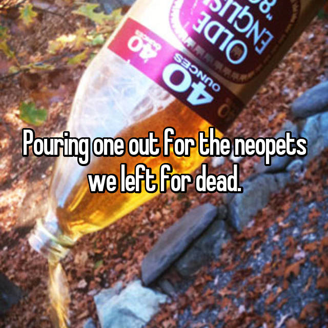 Pouring one out for the neopets we left for dead.